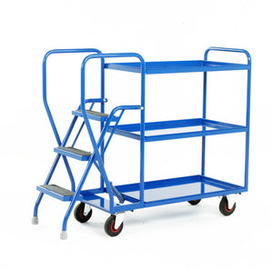 3 Step Tray Trolley - Fixed Shelves Heavy Duty