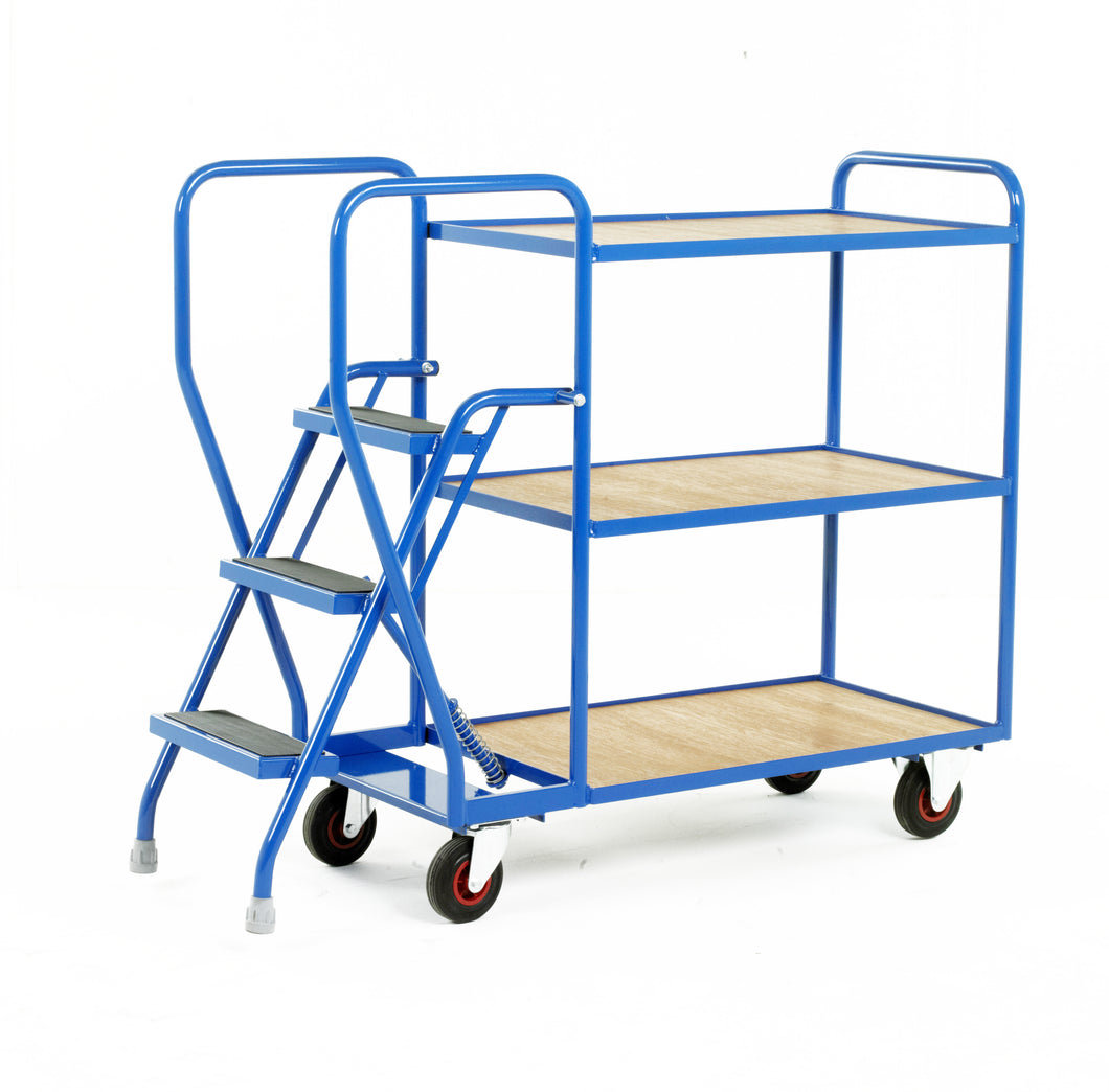 3 Step Tray Trolley - Fixed Ply-Wood Shelves Heavy Duty