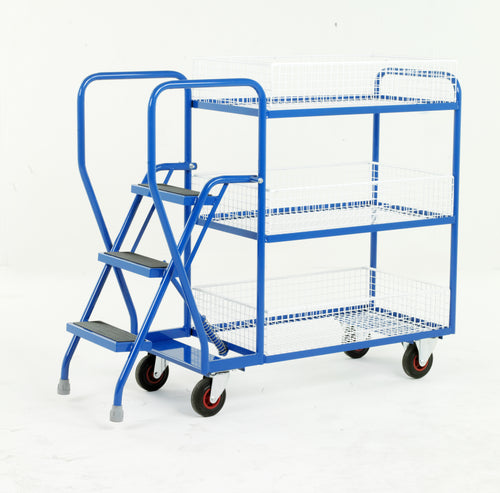 3 Step Tray Trolley - Removable Baskets Heavy Duty