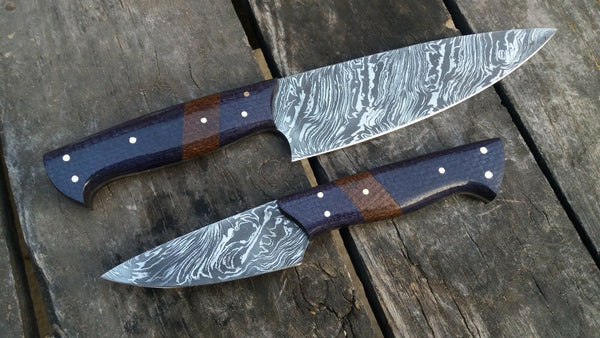 |KNIVES ZONE| Custom Handmade Damascus Steel 2Pcs Kitchen Knives Set  Pattern Fire