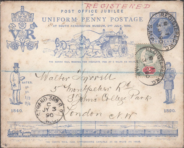 100065 - 1890 POST OFFICE JUBILEE/REGISTERED MAIL.