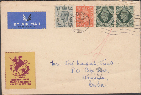 100094 - 1950 MAIL SOLIHULL TO CUBA.
