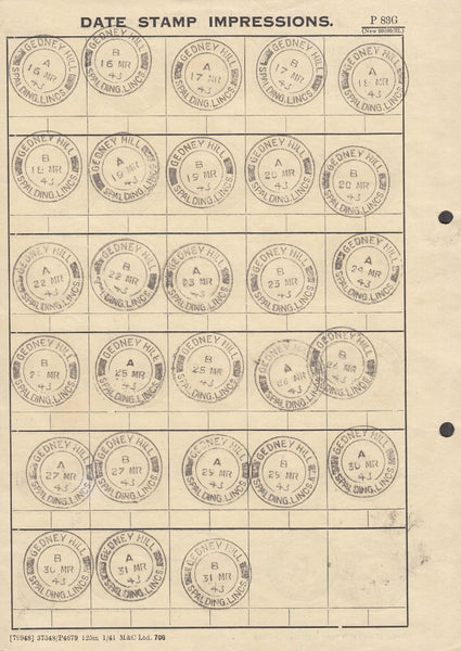 100237 - LINCS/1943 DATE STAMP IMPRESSIONS.