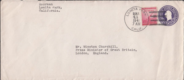 100239 - 1941 ENVELOPE USA TO WINSTON CHURCHILL.