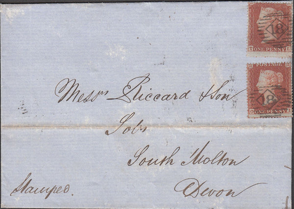 100274 - 1855 DIE 1 PL.193 (TL OI) (SG17) USED ON COVER.
