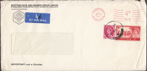 100351 - 1967 5S CASTLE ON COVER/METER MARK.