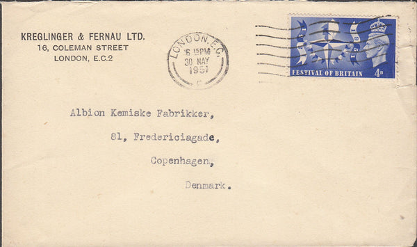 100442 - 1951 MAIL LONDON TO DENMARK/FESTIVAL OF BRITAIN.