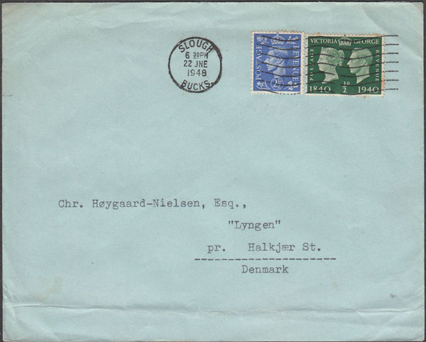 100447 - 1948 MAIL SLOUGH TO DENMARK/CENTENARY ISSUE.