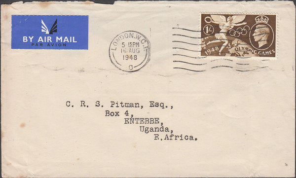 100466 - 1948 MAIL LONDON TO UGANDA/OLYMPIC GAMES.