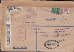 100555 - 1945 REGISTERED MAIL LONDON TO NEW YORK/BPA ASSN.