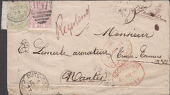 100584 - 1877 REGISTERED MAIL CARDIFF TO FRANCE/4D SAGE GREEN PL.15 (SG153).