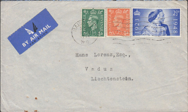 100641 - 1948 MAIL TO LIECHTENSTEIN/2½D SILVER WEDDING.