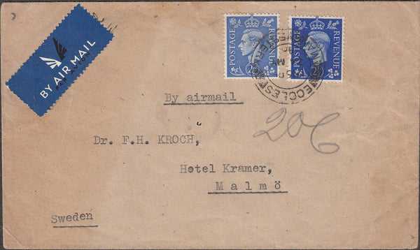 100728 - 1946 MAIL ECCLES TO SWEDEN.