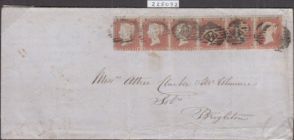 100808 - 1855 DIE 1 PL.198 S.C.14 (SG22) SIX EXAMPLES ON COVER LONDON TO BRIGHTON LETTERED EB EC ED EE EF EG.