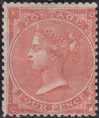 "100953 - 1862 4D (SG79) MINT EXAMPLE LETTERED CK SHOWING CONSTANT VARIETY ""DEFECTIVE K"" (SPEC J52d)."