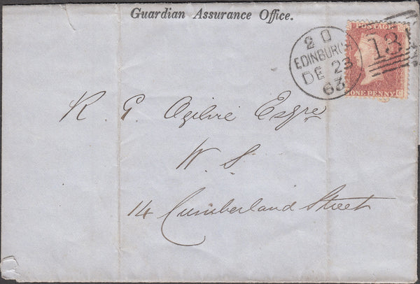 101202 - GUARDIAN ASSURANCE OFFICE LONDON 1863 PRINTED WRAPPER.