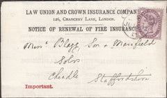 101204 - LAW UNION AND CROWN INSURANCE COMPANY 1892 PRINTED RENEWAL.