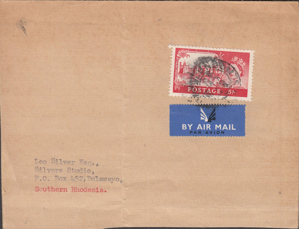 101357 - 5S CASTLE ON PART ENVELOPE LONDON TO SOUTHERN RHODESIA.