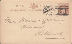 101363 - 1879 EDINBURGH DOTTED CIRCLE/½D BROWN POST CARD.