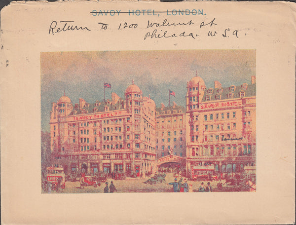 101398 - 1915 MAIL LONDON TO USA/HOTEL ILLUSTRATION.
