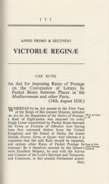 101411 - ACTS OF PARLIAMENT RELATING TO THE POST OFFICE FROM 1 AND 2 VICTORIA TO 7 AND 8 VICTORIA 1838-1844.