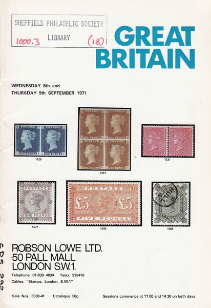 101571 - ROBSON LOWE GREAT BRITAIN SPECIALISED AUCTION SEPTEMBER 1971.