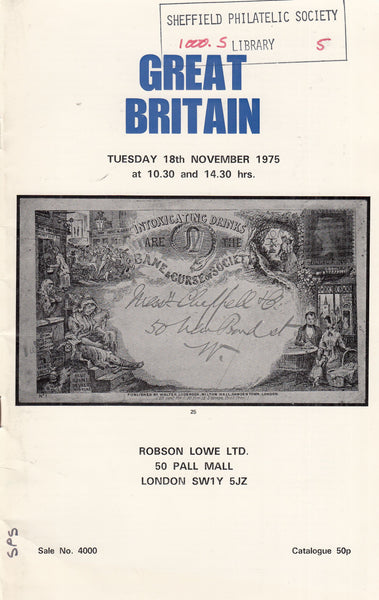 101575 - ROBSON LOWE GREAT BRITAIN SPECIALISED CATALOGUE NOVEMBER 1975.