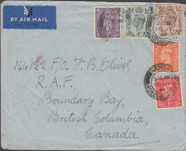 101763 - 1944 MAIL HAWICK TO CANADA.