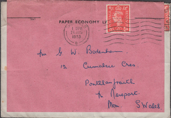 101764 - 1953 RE-USED ENVELOPE.