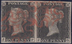 101770 - PL.6 1D BLACK PAIR LETTERED JF JG (SG2).