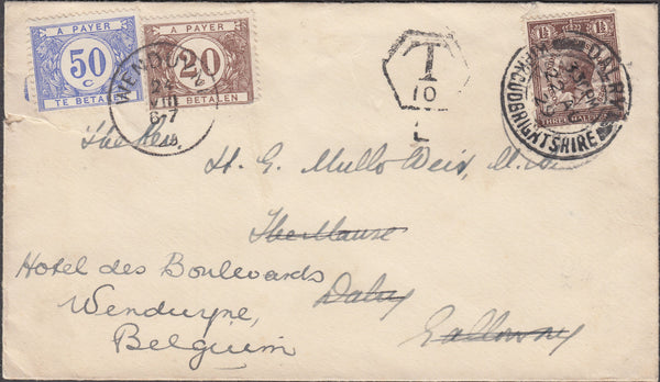 101804 - 1929 UNDERPAID MAIL SCOTLAND TO BELGIUM.