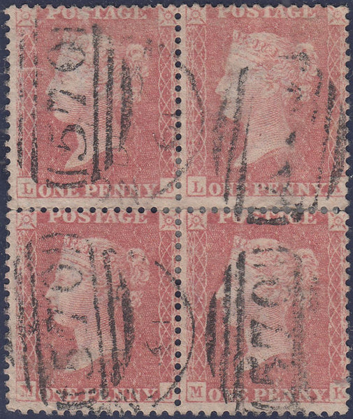 101818 - 1857 DIE 2 PL.46 (LJ LK MJ MK) BLOCK OF FOUR PALE RED ON WHITE PAPER.