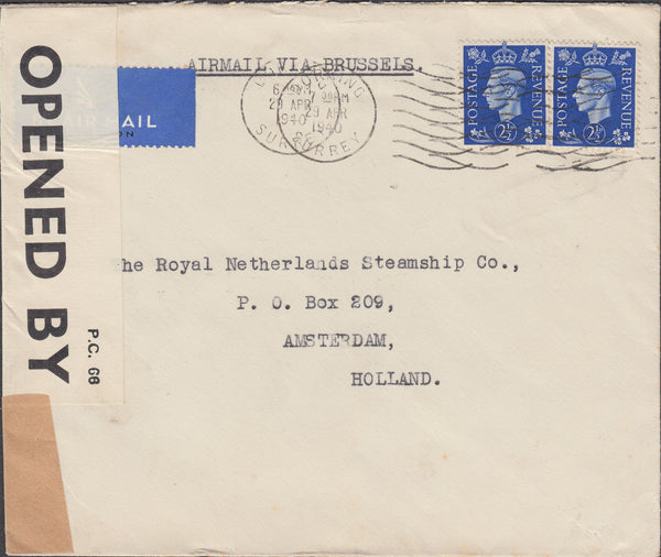 102333 - 1940 AIR MAIL DORKING TO HOLLAND.
