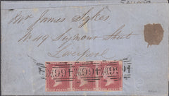 "102375 - 1857 DIE 2 PLATE 52 IMPERFORATE STRIP OF 3 (SG40a) USED ON PRINTED WRAPPER TO PAY 3D ""NOTICE OF OBJECTION"" RATE."