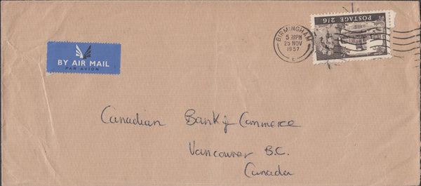 102395 - 1957 ENVELOPE BIRMINGHAM TO CANADA/2/6D CASTLE.