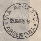 102407 - 1939 MAIL LONDON TO ARGENTINA.