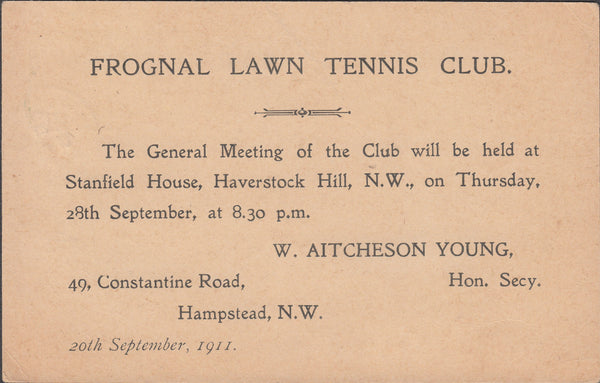 102449 - 1911 POSTAL STATIONERY ADVERTISING/FROGNAL LAWN TENNIS CLUB.