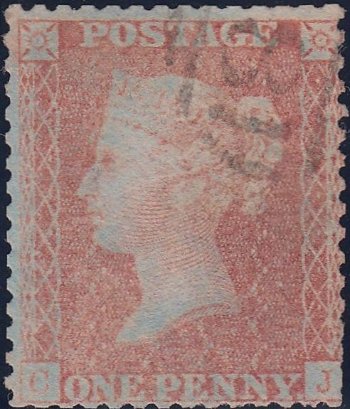 102488 - 1856/7 PL.46 USED MATCHED PAIR BLUED PAPER (SG32) AND WHITE PAPER (SG40) LETTERED CJ.