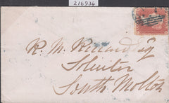 "102492 - 1857 DIE 2 RED-BROWN ON WHITE PAPER PL.40 (SG37/SPEC C8A)/""970"" BLUE NUMERAL OF LYNMOUTH (DEVON)."