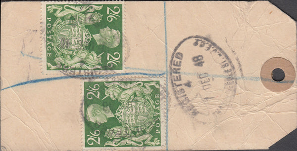 102553 - 1948 BANKER'S PARCEL TAG/KGVI 2/6 YELLOW-GREEN (SG476b).