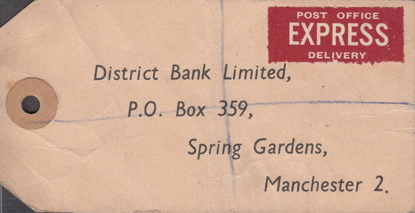 102555 - 1949 BANKER'S PARCEL TAG/2/6 YELLOW-GREEN (SG476b).