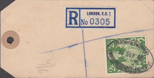 102565 - 1948 BANKER'S PARCEL TAG/KGVI 2/6 YELLOW-GREEN (SG476b).