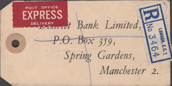 102572 - 1948 BANKER'S PARCEL TAG/KGVI 2/6 YELLOW-GREEN/OLYMPIC GAMES.