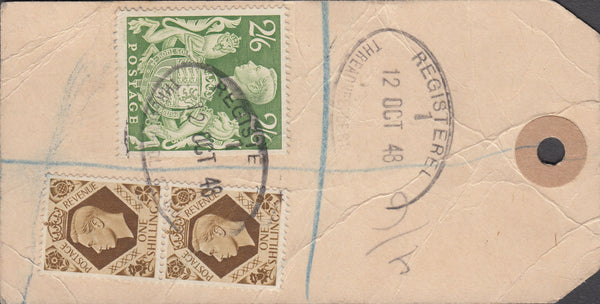 102573 - 1948 BANKER'S PARCEL TAG/ KGVI 2/6 YELLOW-GREEN (SG476b).