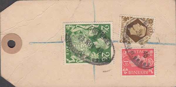 102575 - 1948 BANKER'S PARCEL TAG/KGVI 2/6 YELLOW-GREEN (SG476b).