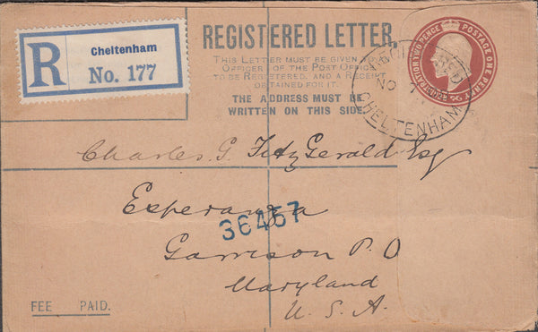 102578 - 1908 REGISTERED MAIL CHELTENHAM TO USA.