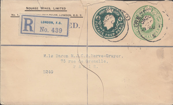 "102586 - 1917 ""NOURSE MINES"" ENVELOPE LONDON TO PARIS."
