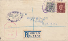 102605 - 1943 REGISTERED MAIL LONDON TO USA.
