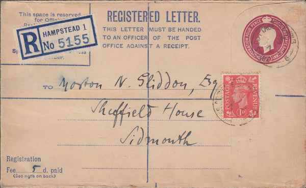 102606 - 1950 STAMP DEALERS MAIL HAMPSTEAD TO SIDMOUTH/D. M. WOLFF.