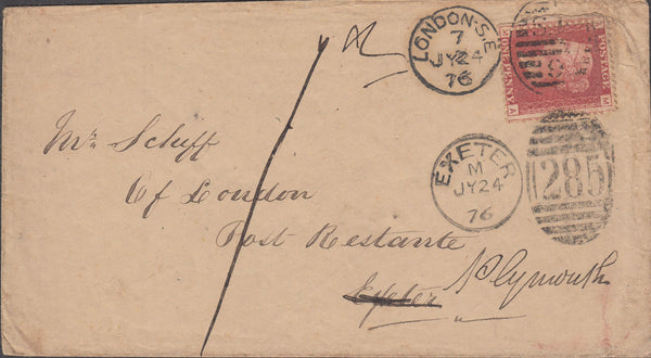 102637 - 1876 ENVELOPE WITH LONDON STYLE AND PROVINCIAL STYLE DUPLEXES.